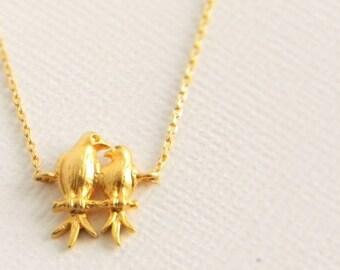 Gold Love Bird Charm Necklace