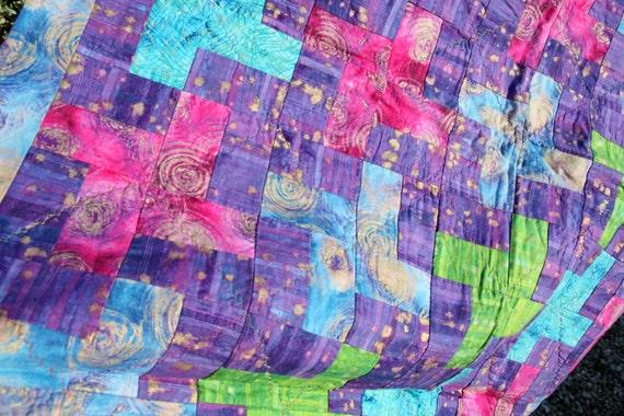 CLEARANCE SALE Cosmos Rainbow Patchwork Quilt by PingWynny