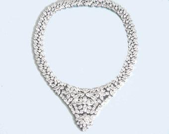 Bridal Statement Necklace, Bridal Necklace, Bridal Crystal Necklace, Wedding Necklace, Crystal Bib Necklace, Wedding Jewelry, Statement
