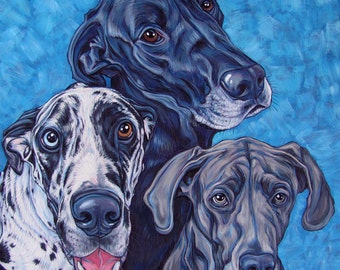 """18"""" x 18"""" Custom Pet Portrait Painting in Acrylic on Canvas of Three Dogs, Cats, or Other Animals OOAK Ready to Hang Art from your Pet Photo"""