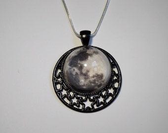 READY TO SHIP, Star Cameo Moon Necklace