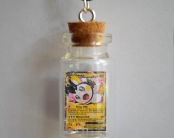READY TO SHIP, Bottled Emolga Pokemon Card Necklace/Phone Charm/Keychain