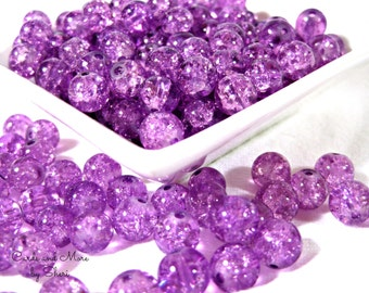 Crackle Glass 8mm Beads - Plum Ice Crackle Beads