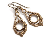 Antiqued Victorian Jewelry - Antiqued Brass Nickel Free Earrings - Metal Jewelry - Brass Victorian Earring - Victorian Drop Earring (Tracie)