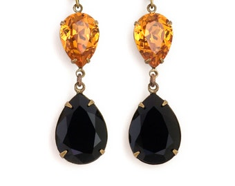 Topaz Orange Black Rhinestone Earrings, Orange Earrings, Austrian Crystal Earrings, Orange Dangle Earrings, Black Drop Earrings, Eudoxia