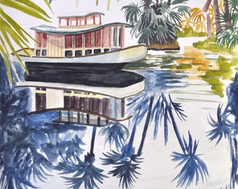 Palm Tree Boat Painting