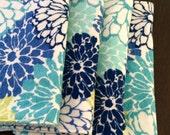 Cloth Unpaper Towels Reusable Flannel blue flowers butterflies Baby Wipes Set of 4