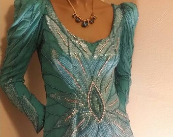 Vintage heavily beaded silk teal gown, med sz 8 by alyce