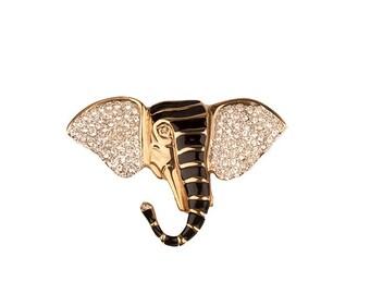Elephant Brooch, Rhinestone Pave & Black Enamel, Gold Metal, Vintage 1980s