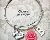 Personalized Junior Bridesmaid Bracelet - JBC - Junior Bridesmaid, Adjustable Bangle, Junior Bridesmaid  Charm, Child-Sized Bangle