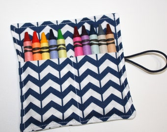 Crayon Rolls Party Favors Navy Blue and White Chevrons Crayon Holder holds 10 Crayons, Birthday Party Favors
