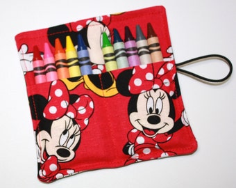 FAST SHIP! Crayon Rolls Party Favors, made from Minnie Mouse Giggles fabric, crayon holder for 10 Crayons, Birthday Party Favors