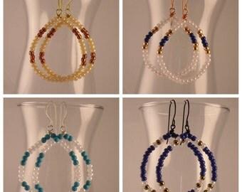 Beaded Hoop Earrings Assorted Colors