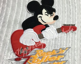 Mickey Rockin Roller Coaster Inspired Iron on  Appliqué Patch