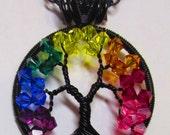 Tree of Life, Birthstone Tree of Life OR Rainbow Tree, Swarovski Crystal Rainbow, Mother's Day Birthstone Pendant