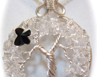 Crystal Quartz Wire Wrapped Tree of Life with a Jet Black Swarovski Crystal Butterly, Tree of Life Necklace