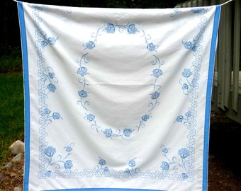 Hand Embroidered Cotton Tablecloth Blue White Floral Design Vintage German