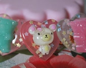 Fairy Tale Snow White, Ariel, Frozen, Gummy Bear, Candy, Deer, Cat, Relax Bear, Gold Scallop Ring, Kawaii Fairy Kei