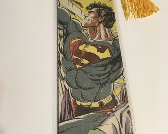 Upcycled Superman Comic Book Bookmark