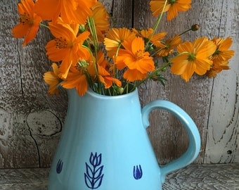 Vintage Conin Water Pitcher Aqua with Blue flowers