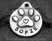 Dog Tags for Dogs Personalized Dog Tag Pet Tag Dog ID Tag Custom Handmade Paw Print