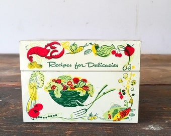 Metal Recipe Box with Vintage Hand-Written Recipes Vintage Advertising Newspaper Clippings