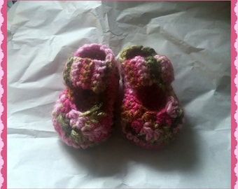 Pink Camo Mary Jane Baby Booties Baby Shower Gift Newborn or 3 to 6 months  Handmade Crochet Made to Order
