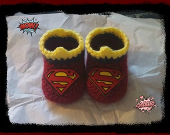 Supergirl Baby Booties Supergirl Baby Shower Gift  Crochet Newborn or 3 to 6 months Handmade Crochet Made to Order