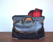 40's leather doctor's bag - kruse bag - brown leather doctor bag - medical bag