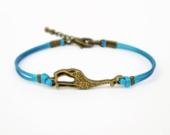 Giraffe Bracelet, Blue Turquoise Cord Bracelet, Friendship Bracelet, Animal Bracelet, 25 Colors Available