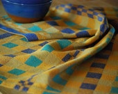 Tea Towel- Quarters- Handwoven Cotton/Linen Pumpkin Blues