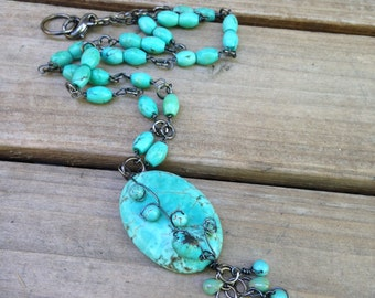Turquoise Necklace  Wire Wrapped with  black wire Turquoise Jewelry Boho Necklace