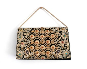 Vintage 1970s Embroidered Purse, Beaded Handbag, Womens Sequinned Bag, Party