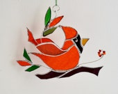 Red Glass Bird Stained Glass Bird The Happy Cardinal Ornament Home Decor Suncatcher