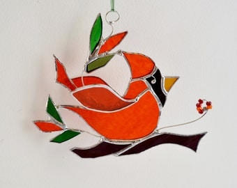 Red Glass Bird. Stained Glass Bird. The Happy Cardinal. Christmas Gift. Ornament. Home Decor. Suncatcher.