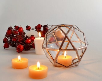 Terrarium, Candle Holder, Stained Glass planter,  Geometric Terrarium, Christmas Gift, New Year's Gift. Ready to Ship.