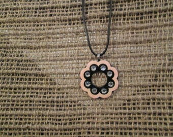 Small 1 1/4 inch metal washer necklace - Black with pink rim and rinestones.