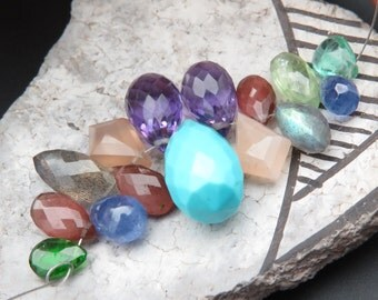 15 Turquoise Tanzanite Scapolite Emerald Diopside Moonstone Labradorite & Prehnite Faceted Briolette Beads 31cts