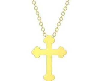 Solid 14K Yellow Gold Cross Necklace