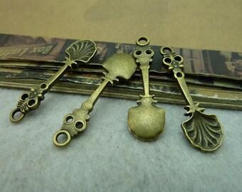 50pcs 10*34mm antique bronze spoon charms pendant C6282