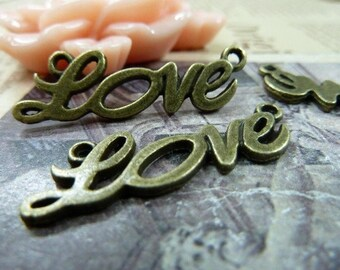 20pcs 10×33mm antique bronze Love link charms pendant C870