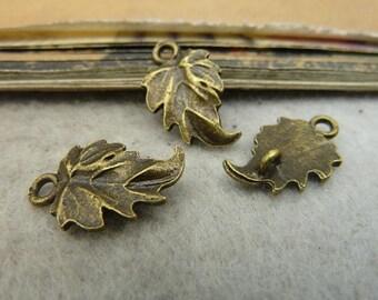 30pcs 13*19mm antique bronze leaf  charms pendant C292