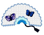 embroidery design, embroidery lace fan, lace fan with flowers, embroidery file, digitized download instant download, embroidery machine
