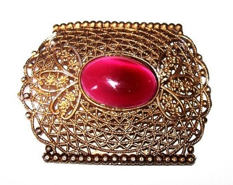 "Edwardian Brooch Pin Pink Marbled Art Glass Stone Filigree Gold Metal C Clasp 2.5"" Vintage"