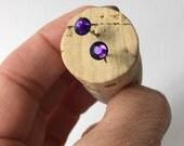 Purple Velvet Crystal Studs, Swarovski Stud Earrings, Surgical Steel, Minimalist Earrings, Gifts For Her