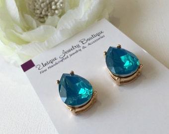 Caribbean Blue Opal Teardrop Statement Earrings, Caribbean Blue Opal, Bridesmaid Earrings, Crystal Drop Earrings, Summer Earrings