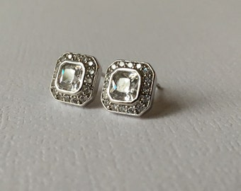 Square Pave Stud Earring, White Gold Diamond Look, 8mm Studs, Cubic Zirconia Sterling Silver,  Wedding Earrings, Simple Studs