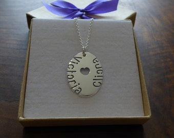 Oval Personalised Silver Pendant Necklace