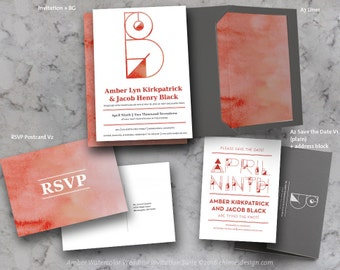 AMBER (Watercolor) Geometric Monogram Invitation Suite Printables