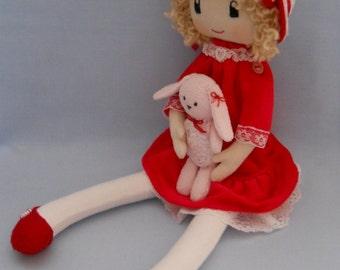 Textile Doll Ella, soft doll, rag doll